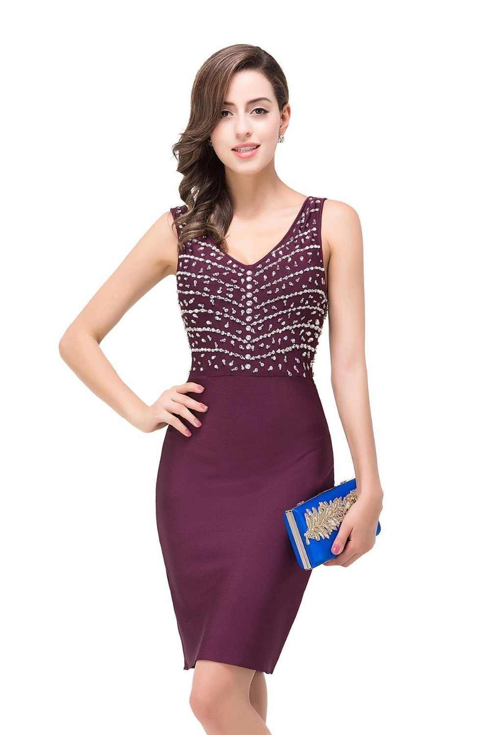 Sequin Cocktail Dress ... burgundy Cocktail Dresses 2019 Above Knee Ladies Sleeveless V-Neck Formal  Gowns With Sequin Short ...
