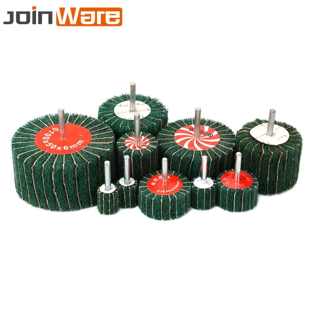 Head diameter:50MM 320# 10 Pc Mounted Fiber Mop Polishing Brush Wheel for Drill Grinding Burnish Die Dremel Grinder Rotary Tools 6MM Shank Red grit