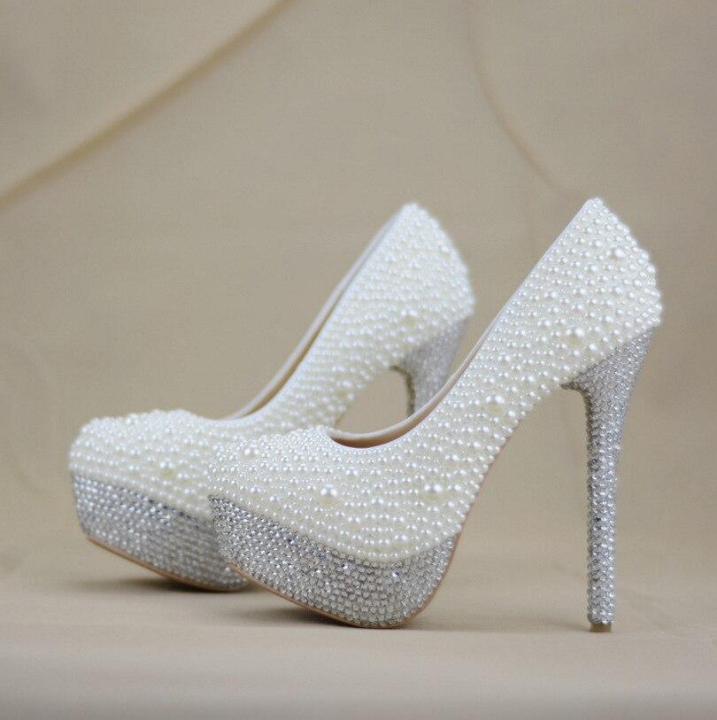 Scarpe Argento Sposa.Argento E Bianco Perla Scarpe Da Sposa Super Tacco Alto Punta A