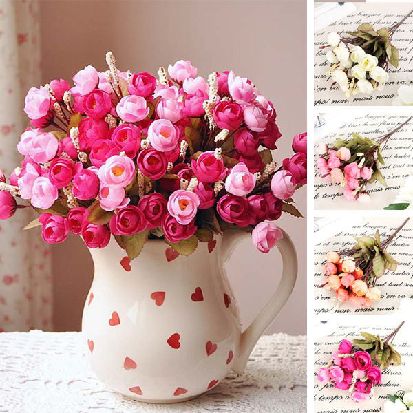 18 Red Rose Fake Artificial Flowers Cheap Camellia Magnolia Floral ...