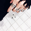 Women's Rings Sets Trendy Chain Tassel Ring Adjustable Punk Joint Ring Luxury Fashion Jewelry Gold Sliver 4 Opening Rings Female