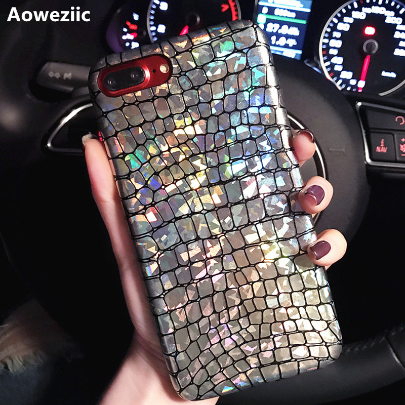 Aoweziic Hot Para iPhone 6 s 7 8 Plus Laser De Luxo Geometria Prata Crocodilo Cobra Telefone de Volta Casos Tampa Para iPhone XR XS MAX Capa