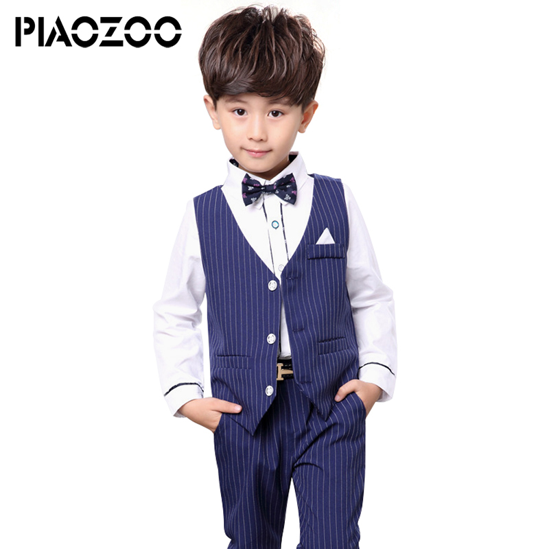 все цены на 2018 Fashion Boys Blazer Suit Kids Cotton Vest+Pants 2 pcs set Clothes Sets Boys Formal Blazers for Weddings Party suits P20 онлайн