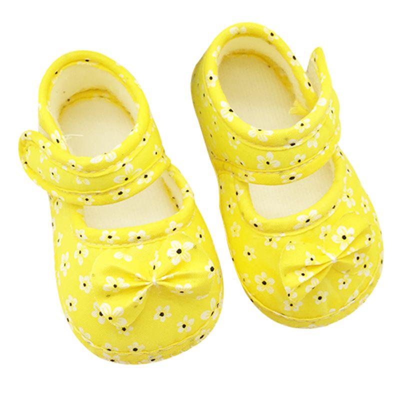 0-18 Months Infant Prewalker Toddler Girls Kid Bowknot Soft Anti-Slip Crib Shoes First Walkers