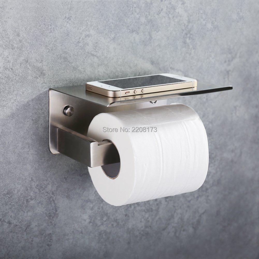 Smesiteli High Quality Toilet Paper Holder SUS304 Stainless Steel Bathroom Holder  Storage Shelf Brushed Nickel Finish