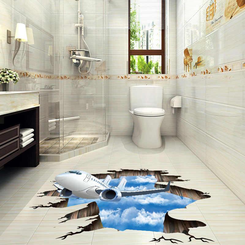 الأزرق السماء 3D طائرة كسر جدار ملصقا المعيشة غرفة الحمام الديكور الشارات المنزل ديكور الطائرات كسر ملصقات أرضية