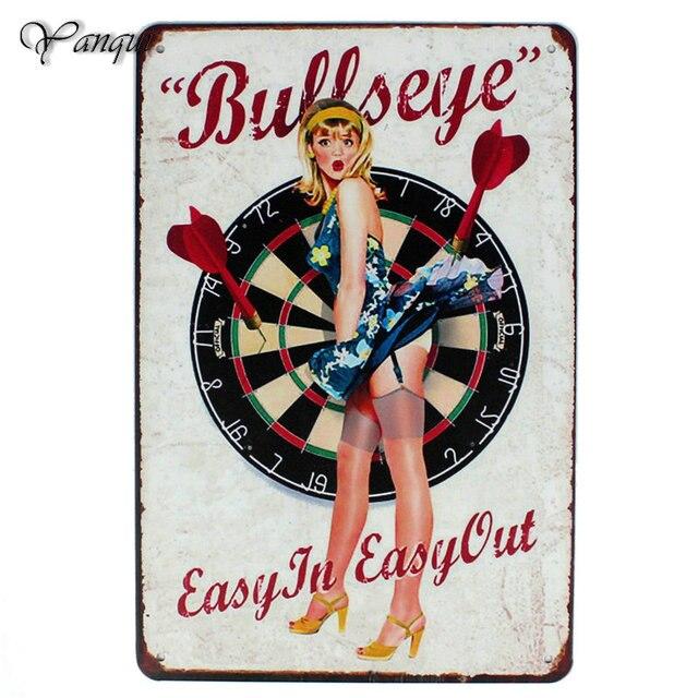 Dễ dàng Trong Dễ Dàng Out Kim Loại Dấu Hiệu Bullseye Với Sexy Lady Tin Poster Trong Các Bar Club Casino Tường Nghệ Thuật Trang Trí Mảng Vữa YQZ054