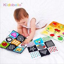 Libro de tela suave para bebé recién nacido de 0 a 12 meses, libro educativo de aprendizaje en blanco/negro con sonido de crujido