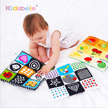 Baby Toys For Newborn Soft Cloth Book 0-12 Months Kids Learning Educational Black/White Cognition Rustle Sound Newspaper