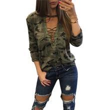 e2236f2535b63 SHUJIN Camouflage imprimé femmes à manches longues Slim T-Shirt Sexy col en  v à lacets hauts mode militaire Style décontracté fe.