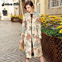 Casual Womens Clothing Spring Autumn New Vintage Women Long Trench Coat Mandarin Collar Plus Size Elegant