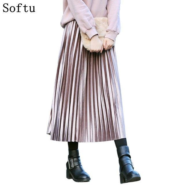 Softu новые модные женские туфли плиссированная юбка Высокая Талия для вечеринок женские длинные бархатные Юбки для женщин осень-зима Винтаж Миди-юбки
