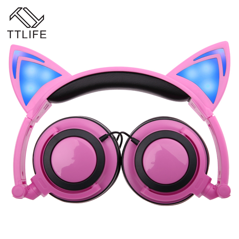 TTLIFE Foldable Flashing Glowing Cat Ear Headphones Gaming Headset Earphone with LED Light For PC Laptop Computer Mobile Phones magift sound effect gaming headset stereo headphones with mic for computer pc laptop gamer with led light over ear glowing