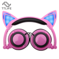 TTLIFE Foldable Flashing Glowing Cat Ear Headphones Gaming Headset Earphone with LED Light For PC Laptop Computer Mobile Phones