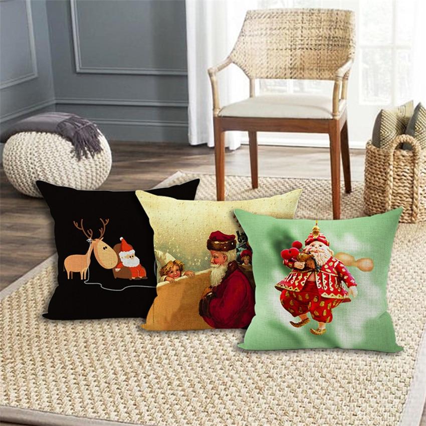 Buy linen christmas cushion santa claus - Sofa de cojines ...