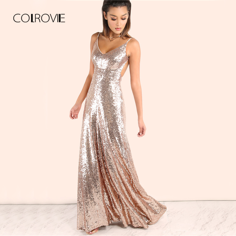 COLROVIE robe longue en or Rose à paillettes robe longue Sexy dos nu Slip longues robes d'été femmes Empire élégant une ligne Club robe