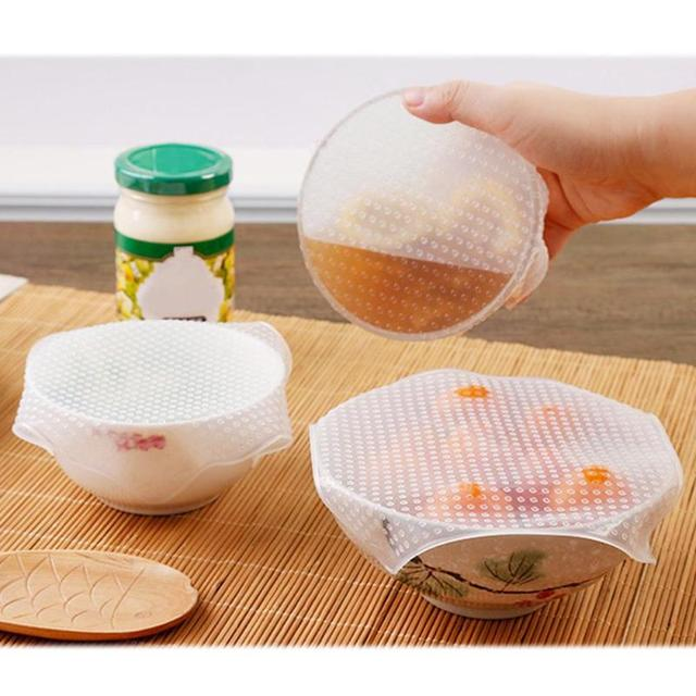 4Pcs/lot Reusable Silicone Wrap Seal Food Fresh Keeping Wrap Lid Cover Stretch Vacuum Food Wrap Bowl Cover Home Kitchen Tools 1