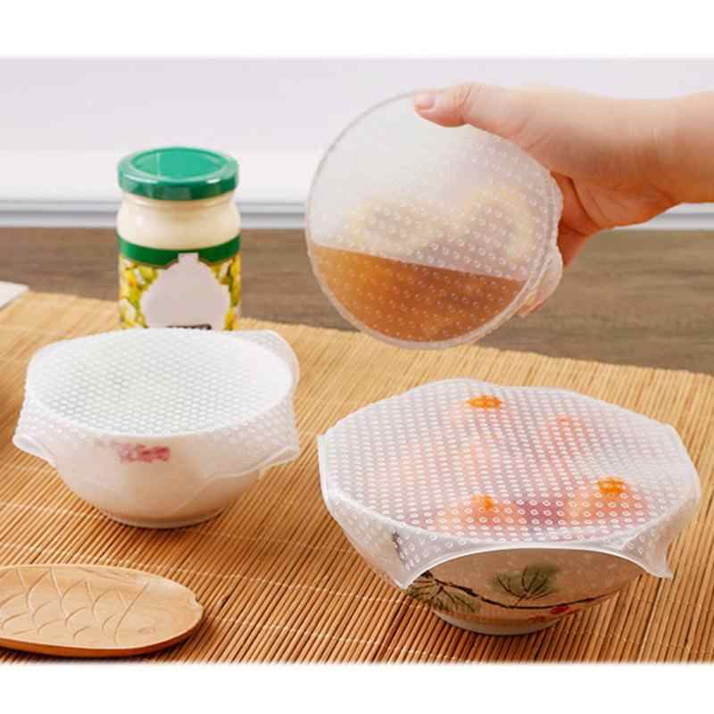 4Pcs/lot Reusable Silicone Wrap Seal Food Fresh Keeping Wrap Lid Cover Stretch Vacuum Food Wrap Bowl Cover Home Kitchen Tools