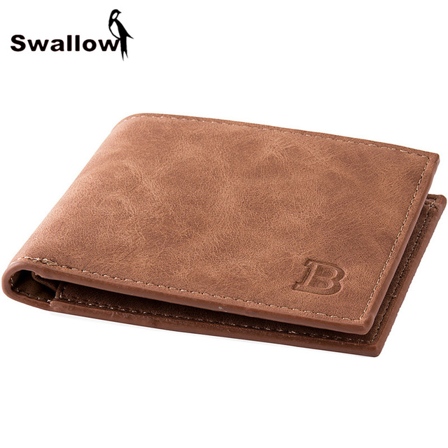 SWALLOW Classic Leather Men's Wallet With Coin Pocket Card Holder Short Wallets For Men Luxury Brand Male Purse Dollar Price