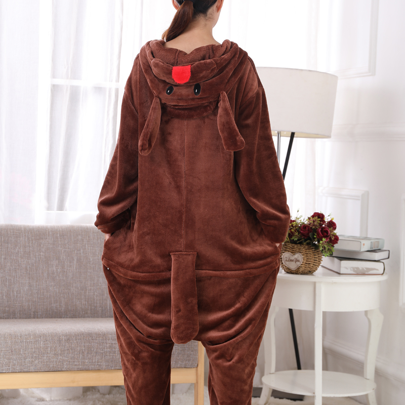 New Brown Teddy Dog Kigurumi Thick Flannel Animal One-Piece Pajamas For Onesie For Adults Cosplay Party Costume Pyjamas Suit (1)
