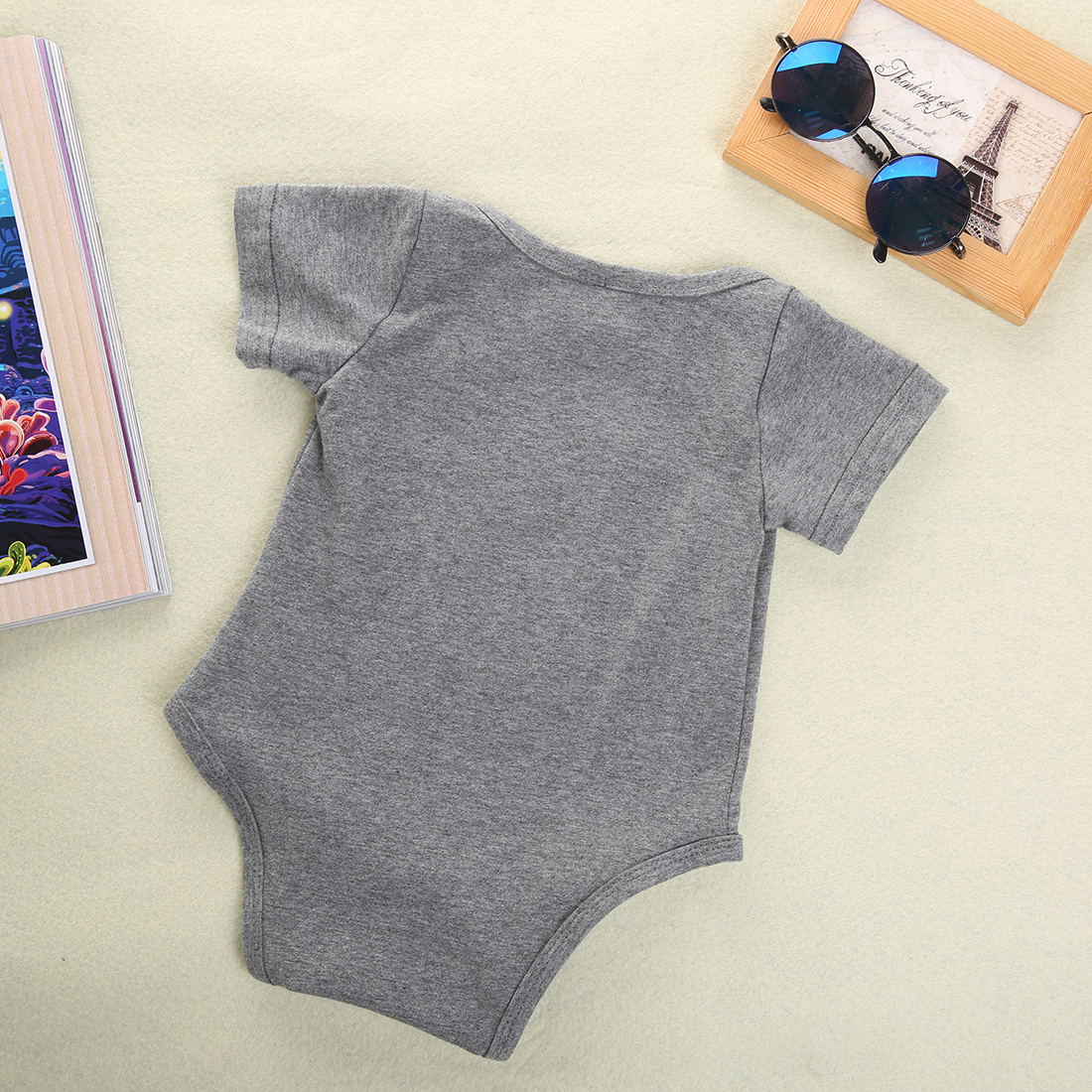 16 New Baby Boys Girls Bowtie Quote Bodysuit Playsuit Outfits Clothing 0-12M 7