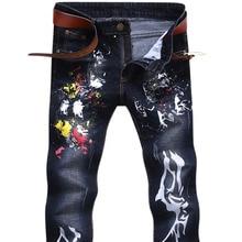 Люксовый бренд моды мужские джинсы стрейч белые буквы печать джинсы мужчины повседневная slim fit брюки джинсовые печатных джинсы брюки 2017