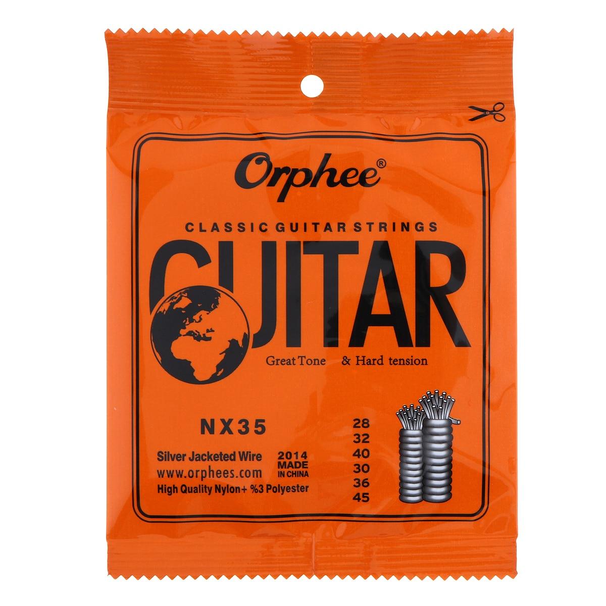 SEWS-Orphee 6pcs/set NX35-C Full Set Black Nylon Classical Guitar Strings Hard Tension 0.028 - 0.045 inch