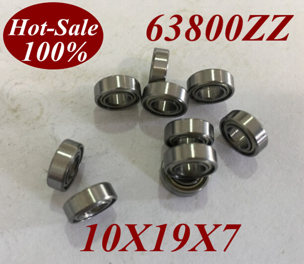 19*7 10PCS Miniature Deep Groove Ball Bearings 63800-ZZ 63800Z Taille 10