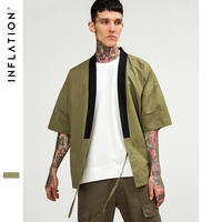 INFLATION Men Outwear Jackets Fashion Kanye West Jacket Cool Mens Kimono Japanese Clothes Streetwear Casual Embroidery