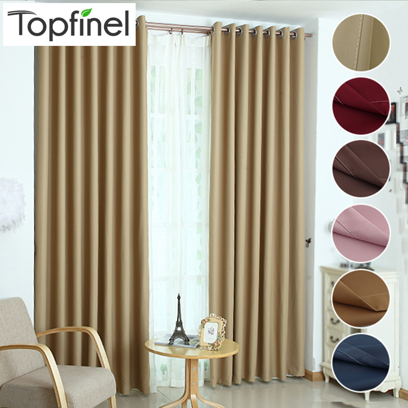 Top Finel Solid Polyester Ready Made Fönsterfärg Blackout Gardiner För vardagsrummet Cortina Window Treatments gardiner