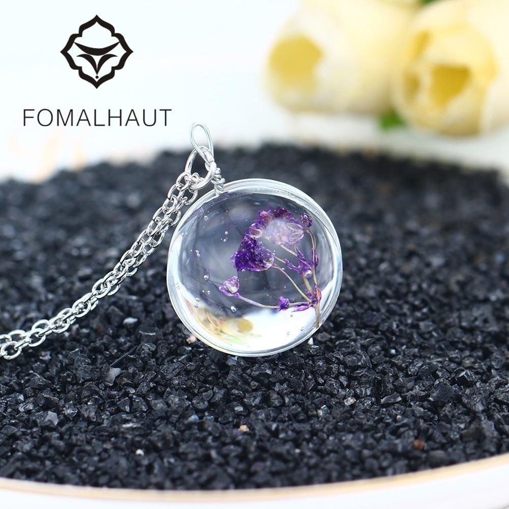 Hot fashion crystal glass ball purple star flower long
