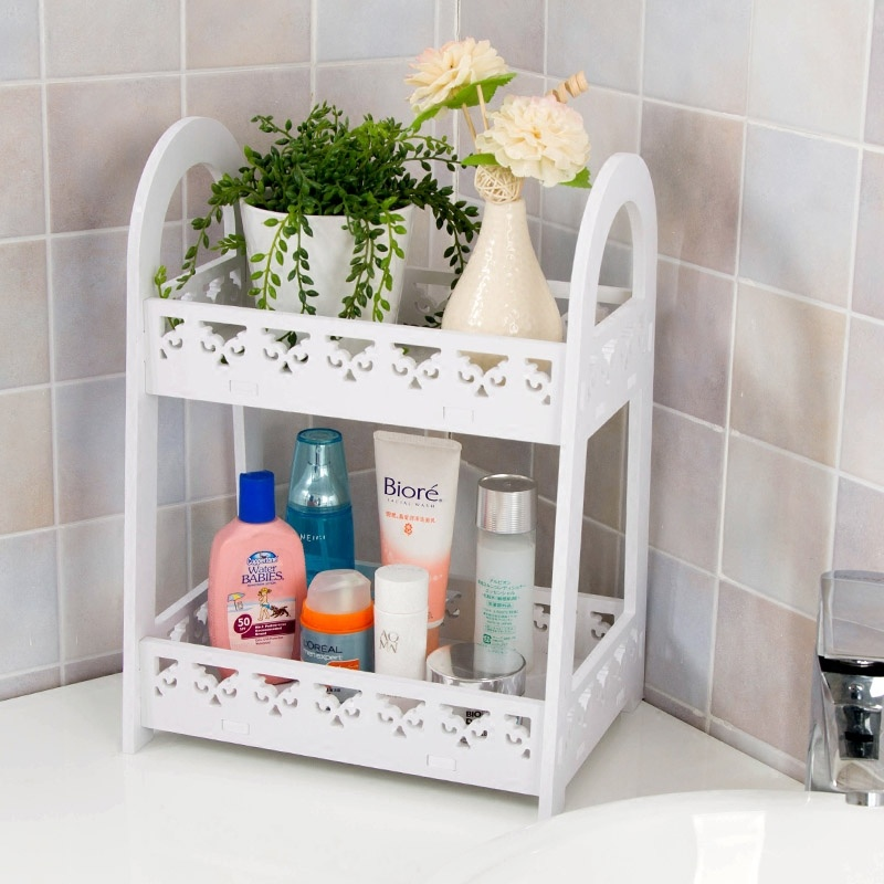 US $35.09 10% OFF|2 layers Carved Panels storage rack wood Wall Corner  Shelf organizer desk storage for living room bathroom shelves-in Bathroom  ...