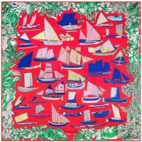 130cm 130cm 100 Silk Euro Brand Women Sailing Boat Ship Vessel Floral Printed Silk Square Scarf