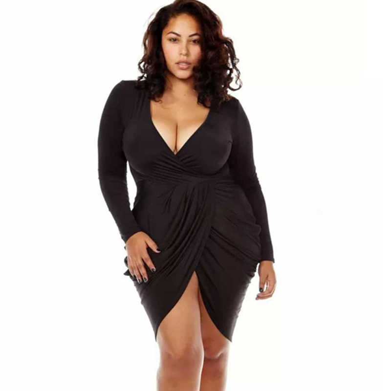 75237a26129 Plus Size Deep V-neck Dress Night Club Fat Bodycon Ruched Wrap Dresses  Spring Autumn