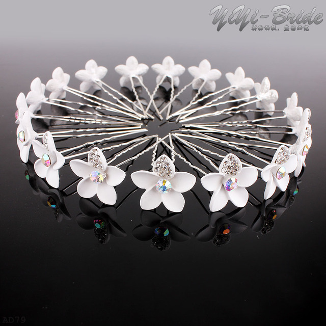 Rot Oder Weiß 20 stücke Hochzeit Haarnadeln Kristall Blume Strass ...
