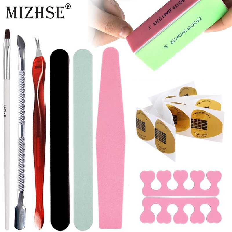 MIZHSE Sanding Buffer Block Manicure Pedicure Gel Polish Nail File Nail Art Accessories Stainless Steel Dead Skin Fork Nail Form