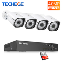 Techege 4MP Video Camera System 8CH AHD DVR Kit 4pcs 4.0MP HD Waterproof Outdoor CCTV Camera Security Surveillance System Set