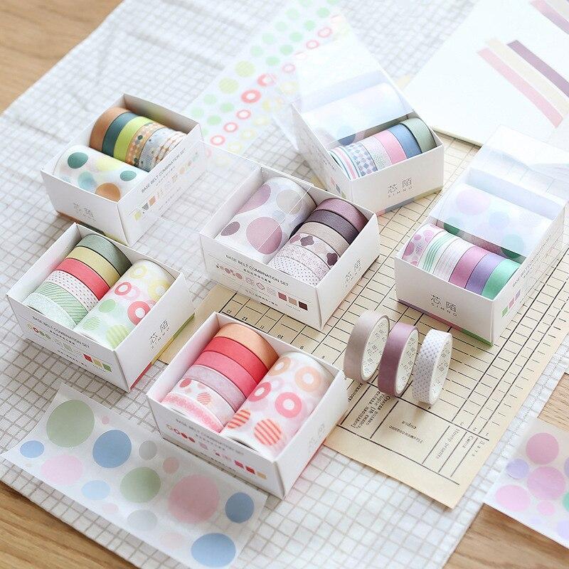 7pcs/Set 10/60mm Vintage Basic Pattern Masking Washi Tape Scrapbooking Creative Diy Journal Decorative Adhesive Tape Supplies