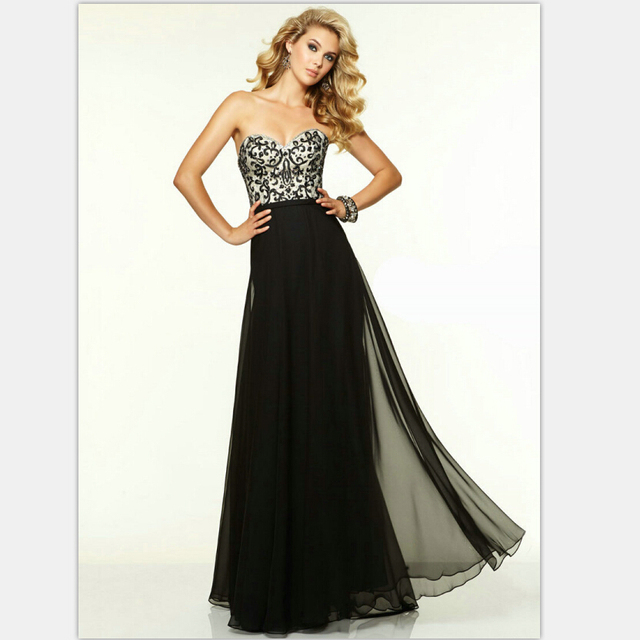 Black Prom Gown With Embroidery 2015 Prom Dress Designers Floor ...