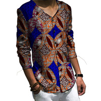 African Printing Men African Tops Long Sleeve Fashion Casual Shirts Tailor Made African Print Clothes For