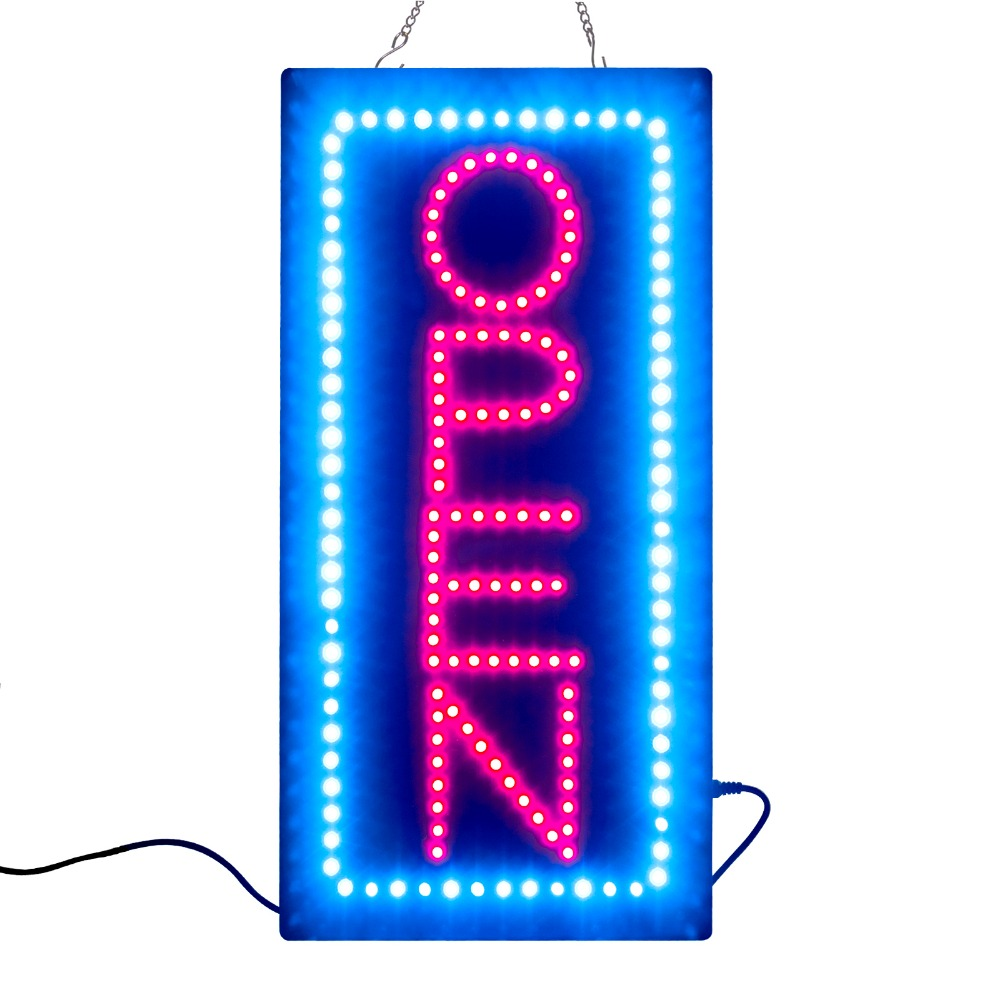 NEW Animated Motion Running LED Open Sign Business  +On/Off Switch Bright Light Neon Signs