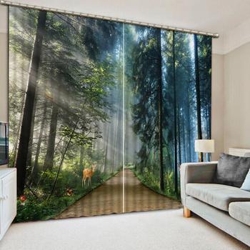 Anpassen sound proof vorhang Wald tiere kinder zimmer wohnzimmer schlafzimmer fenster vorhänge mädchen foto drucken vorhänge
