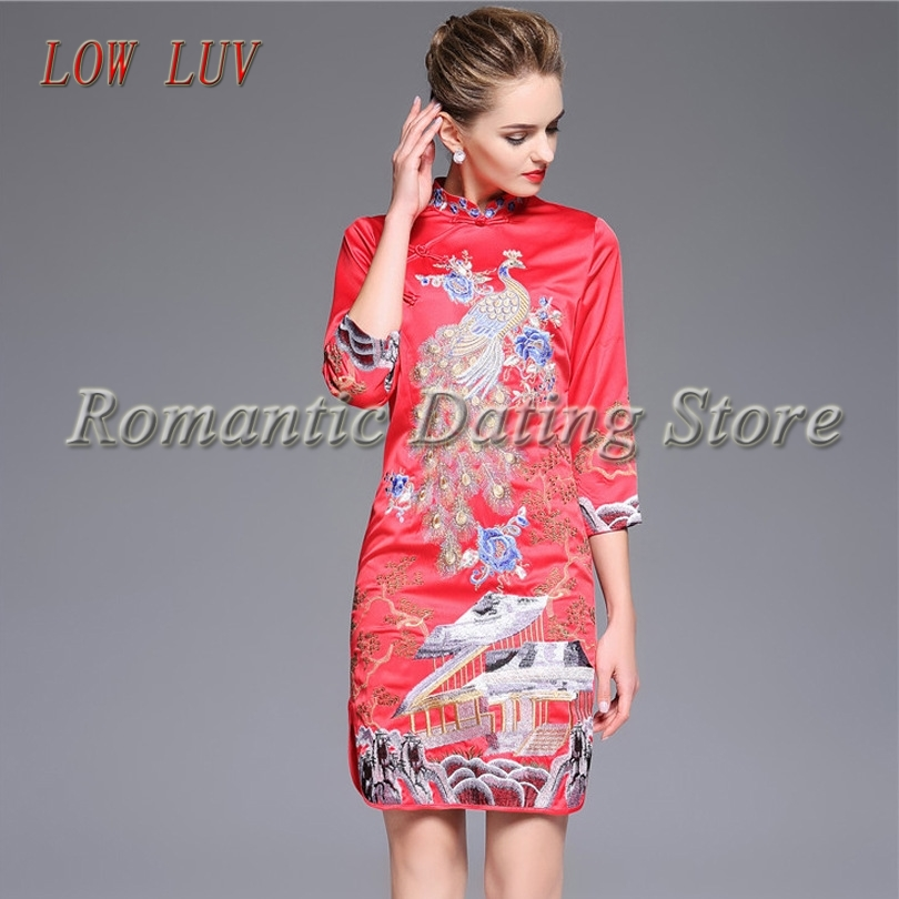 LOW LUV Spring and Autumn new high quality ladies retro Chinese wind embroidery big yards ladies fashion clothing qipao dre