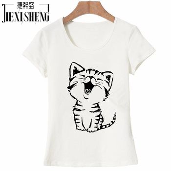 Summer New Fashion Women's Casual O-Neck T Shirt Tops Camisas with Funny Cat Print and Short Sleeve HH08