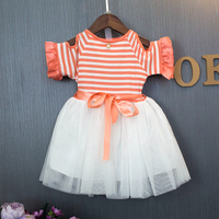 Baby Girls 2017 New Orange Striped Tutu Dress Petal Sleeves Ball Gown Frock Ruffles Lace Designer