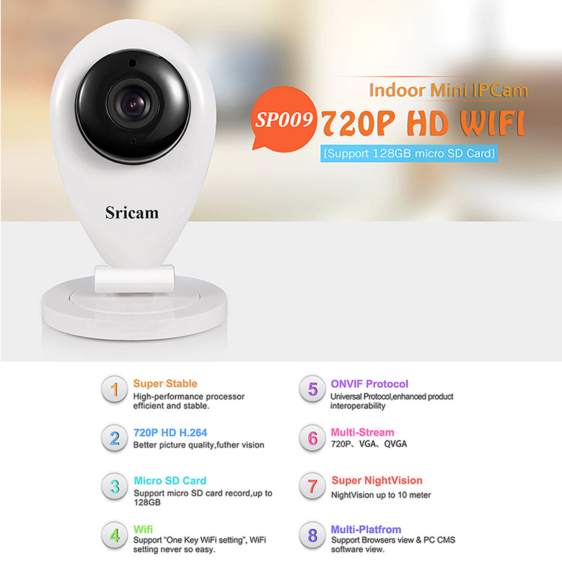 Sricam SP009A Surveillance Camera H.264 Wifi 1.0 Megapixel Wireless ONVIF IP Security Camera with TF Slot IR-cut Night Vision