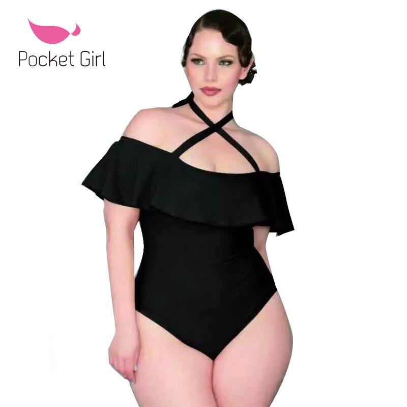 2017 One Piece Swimsuit Plus Size 4XL Swimwear Women Velvet Bathing Suit Black Shoulder Off Ruffle Swim Vintage Wear Monokini plus size scalloped backless one piece swimsuit