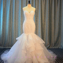 Waulizane Luxury Ruffles Chapel Train Mermaid Wedding Dress