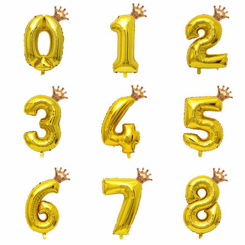 1 Juego Mini corona dorada 32 pulgadas número globo oro rosa plata figura 1 2 3 4 5 6 7 8 años chico niña decoración de fiesta de cumpleaños
