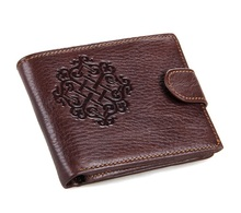 Vintage Short Style 100% Real Genuine Leather Men Wallets Natural Cowskin Male Purse Wallet Card Holder Carteira #VP-J8018